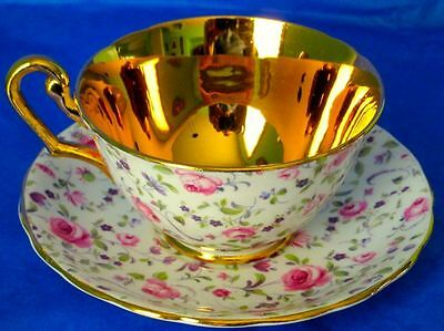 Windsor Exquisite CHINTZ GOLD Vintage Bone China Cup & Saucer