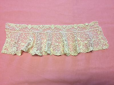 "Vintage Embroidered Net Irish? Lace Ecru Standup Collar Ruffle 18""X 6"" *LOOK*"