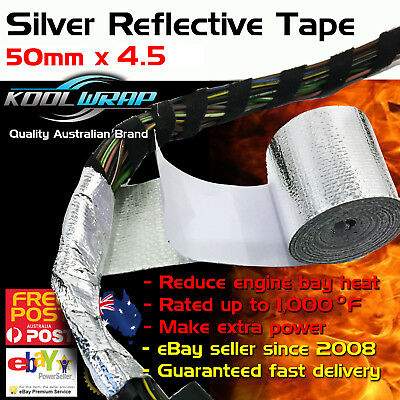 Silver Foil Heat Insulating Tape Hose Reflective Shield Adhesive 50mm x 4.5m