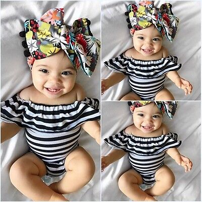 Newborn Infant Baby Girl Off Shoulder Romper Jumpsuit Bodysuit Clothes Outfits