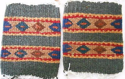 """2 Zapotec Indian 100% WOOL Rugs & Coaster 5"""" x 5"""" hand made 2000 yr old heritage"""