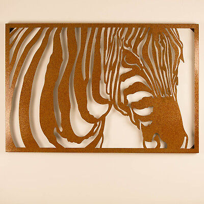 Metal Wall Art 98cm ZEBRA Metallic Green Unique Steel Stylish Designer Laser Cut