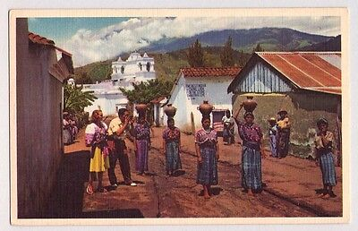 Pan American World Airways Airline Postcard Guatemalan Women Carry Water 1950's