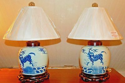 PAIR Chinese Export GINGER JAR Vase Lamp Quilan Porcelain Pottery Foo Dog