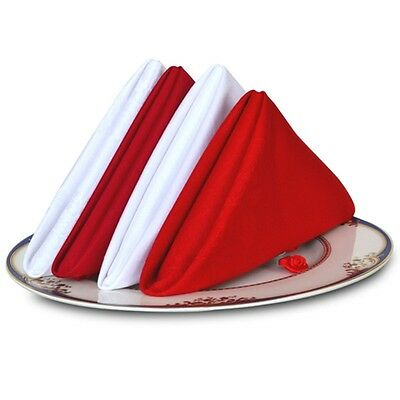 Red/White Cotton Dinner Napkins Restaurant Wedding Party Formal Tableware Napkin