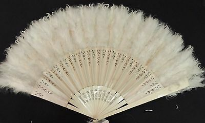 Victorian Spangled Silk Fan w Feathers / Carved / Pierced Frame