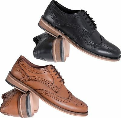 Mens Catesby Leather Smart Formal Lace Up Wing Tip Brogues Shoes Sizes 7 to 12