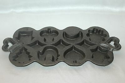 Vintage Cast Iron Corn Muffin Pan Rooster Star Moon House Tree Spade Club Fluted