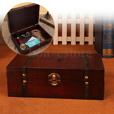Vintage Oversize Wooden Treasure Trinket Storage Jewelry Gift Box Case Orgnizer