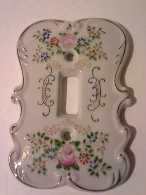 Vintage Lefton China Hand Painted Light Switch Plate Cover Flowers Gold