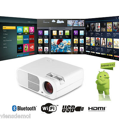 "200"" 5000LM LED PROIETTORE 1080P HD Android4.4 WIFI BT 1G+8G Multimedia Player"