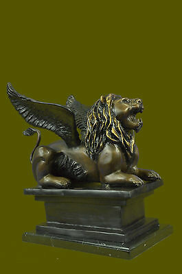 Hot Cast Handcrafted Winged Lion Edition Bronze Masterpiece Sculpture DB