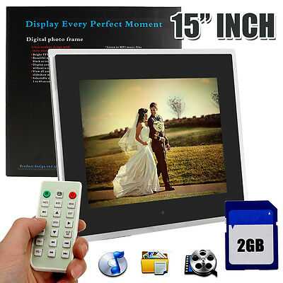 15'' LED Digital Frameless Photo Frame Video Alarm Clock MP4 Player + 2GB Card