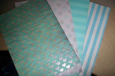 4 Sheets Glitter Cardboard  (21 X 15 Cm) (A107) Other Side White New