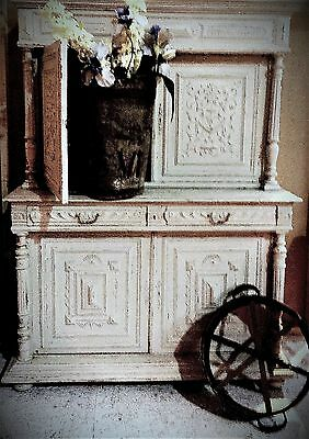 A Handsome 19Th Century Painted Carved French Housemaids Cupboard/dresser