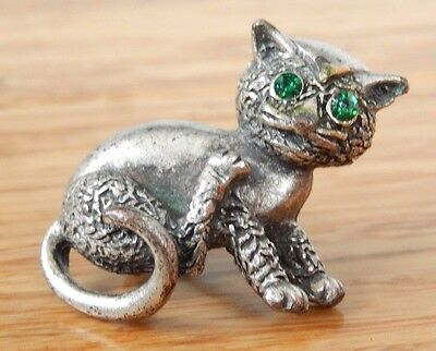 Vintage Metal Cat with Two Green Rhinestones Eyes Brooch Pin Pinback