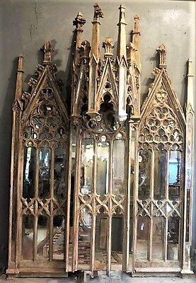 Fabulous Very Large Mirrored 19Th Century Gothic Tracery Panels - Unique