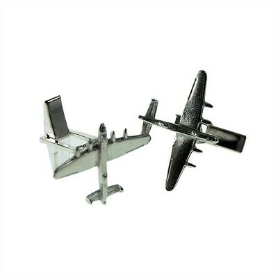English Pewter Lancaster Bomber Aircraft Cufflinks in Leatherette Box XDCL003