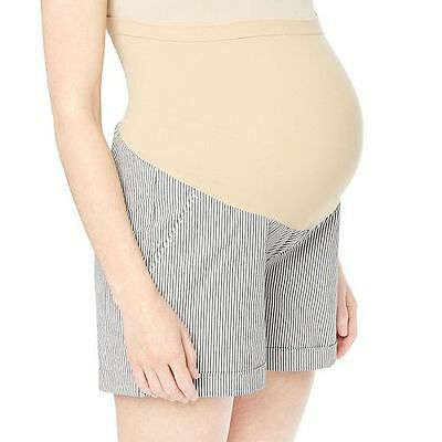 Maternity Pinstriped Soft Shorts, L, Oh Baby by Motherhood Secret Fit Belly