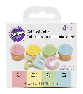 Wilton Primary Gel Food 4-Color Set - Yellow Pink Blue Green Icing Decoration