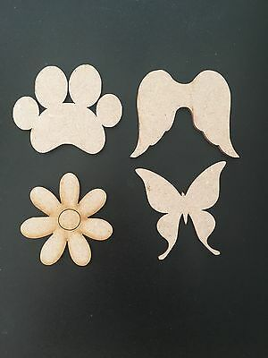 Wooden MDF Shapes Wings, Paws, Baby Feet, Trains, Butterflies Embellishments, Cr