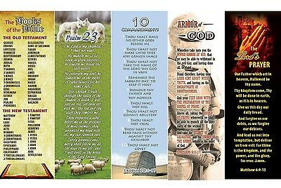 Variety Pk Bookmarks Books Bible, 23rd Psalm, 10 Command., Armor, Lord's Prayer