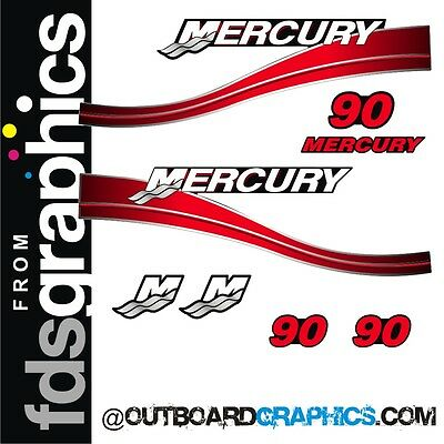 Mercury 90hp two stroke outboard graphics/sticker kit