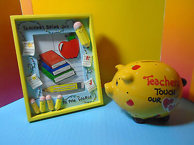 "The Best Teacher's Gifts: ""photo Frame"", 3D Artwork & ""piggy Bank"" Colorful Set"