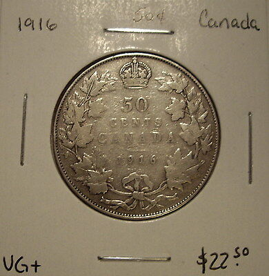 Canada George V 1916 Silver Fifty Cents - VG+