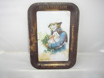 "Vintage Berlin State Bank Metal Tip Tray, Fair To Good Cond. (4 1/4"" X 6 1/4"")"