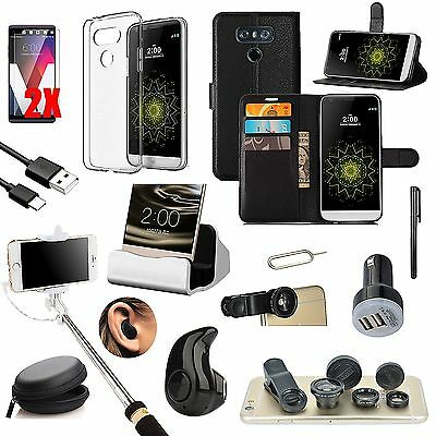 Black Leather Case Cover Bluetooth Headset Monopod Fish Eye Accessory For LG G6