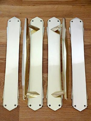 "Large Pair Of 15"" Brass Art Deco Pull Handles + Finger Door Push Plates Knobs"