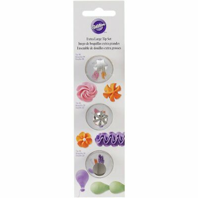 Wilton 3-Piece Extra Large Tip Set Cake Cookie Cupcake Icing Decorating 418-1704