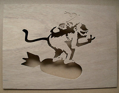 Banksy Monkey Riding Bomb Wooden Stencil