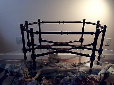 Hollywood Regency Brass Tray Coffee Table Walnut Wood Spindle Base Only No Top
