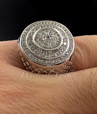 NEW! $149 14k White Gold gp Simulate Diamond IcedOut Hiphop Mens Pave Pinky Ring