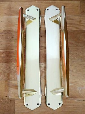 "3rd PAIR OF LARGE BRASS 15"" ART DECO DOOR PULL HANDLES KNOBS PLATES FINGER PUSH"