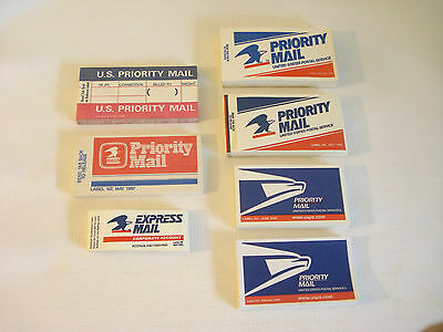 Postal Collectibles Lot of 7  USPS PRIORITY MAIL STICKERS LABEL 4 107 108