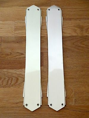 "Pair 15"" Finger Plates Art Deco Cast Brass Door Push Fingerplate"