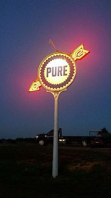 Pure Gas station sign pole Arrow's Neon & plain tydol Flying a