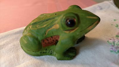 Wood Green Handpainted FROG Toad Figurine