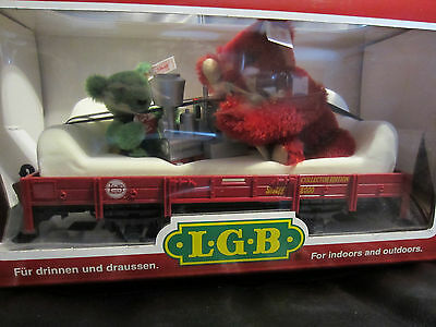 Rare Lgb 43100 Flatcar With 2 Limited (2000) Steiff Bears New In Box  Nrfb