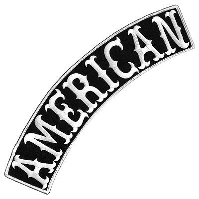 """Vegasbee® American Black-White Embroidered Iron-On Patch Jacket Top Rocker 12"""""""