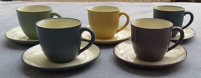 FIVE Noritake Colorwave Demitasse Cup and Saucer Sets Different Colors Mint