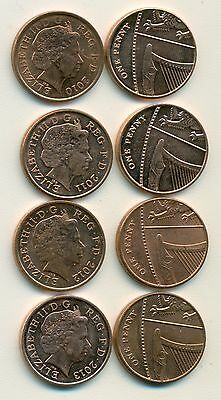 4 NICE 1 PENNY COINS from GREAT BRITAIN (2010, 2011, 2012 & 2013).