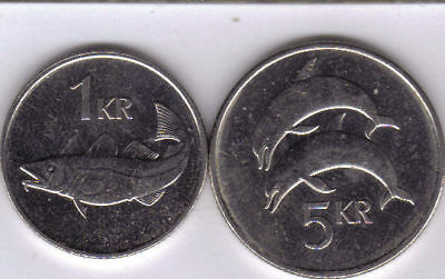 2 COINS from ICELAND -.1 KRONA w/ FISH & 5 KRONUR w/ DOLPHIN (BOTH DATING 2007).