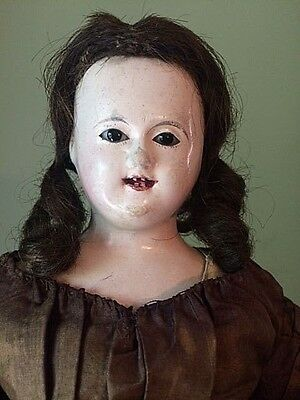 Antique Paper Mache Doll with Bamboo Teeth and Human Hair Wig