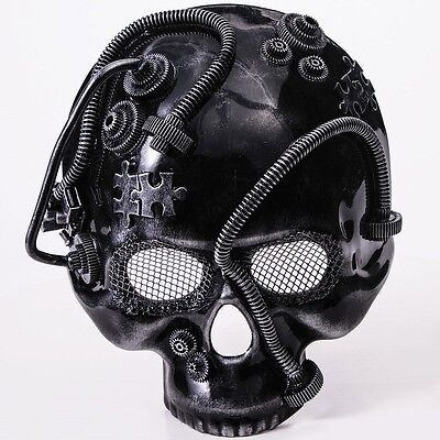 Steampunk Silver Skull Mask Gears Mens Adult for Halloween Industrial Costume