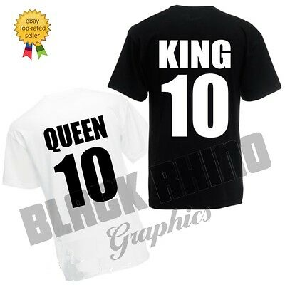 King & Queen T Shirt Romantic Wedding His and Her Couple Hers Gift Cute T-Shirt