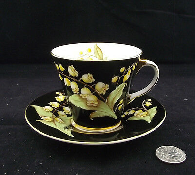 Aynsley Black Floral Cabinet Tea Cup And Saucer B4837 L